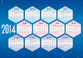 Italian Calendar 2014 With Geometric Shapes Royalty Free Stock Images - 34211289