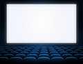 Cinema Blank Screen With Blue Seats Royalty Free Stock Image - 34217306