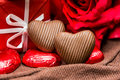 Sweet Heart Shaped Chocolates Candies Royalty Free Stock Images - 34220489