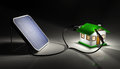 Solar Panel Charges A Small House Stock Images - 34221164