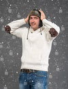 Surprised Handsome Man In Winter Hat Royalty Free Stock Photography - 34227227