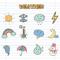 Weather Icons Doodle Royalty Free Stock Images - 34240049