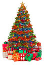 Decorated Christmas Tree With Gifts Isolated Stock Photography - 34255402