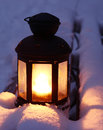Candle Lamp On Snowy Bench Stock Photos - 34260673