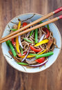 Buckwheat Noodles With Chicken And Vegetables Stock Image - 34269171