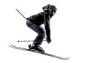 One Woman Skier Skiing Jumping Silhouette Royalty Free Stock Photos - 34269898
