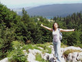 Girl At The Mountain Top With Arms Wide Spread Stock Image - 3439651