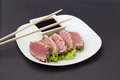 Tuna Fillet On White Dish With Salad And Soy Sauce Royalty Free Stock Photo - 34310095