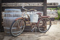 Old Rusty Antique Bicycle And Wine Barrel Royalty Free Stock Photo - 34333695