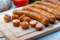 Sliced Grilled Sausages Stock Photos - 34338703