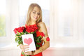 Beautiful Girl With Bouquet Of Red Roses Royalty Free Stock Photos - 34344148
