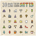 30 Colorful Doodle Icons Set 13 Royalty Free Stock Images - 34349029