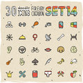 30 Colorful Doodle Icons Set 14 Stock Image - 34349031