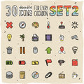30 Colorful Doodle Icons Set 2 Stock Photos - 34349043