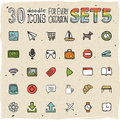 30 Colorful Doodle Icons Set 5 Royalty Free Stock Images - 34349049