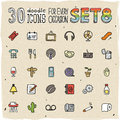 30 Colorful Doodle Icons Set 8 Stock Image - 34349071