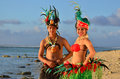 Young Polynesian Pacific Island Tahitian Dancers Couple Royalty Free Stock Photos - 34350338