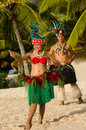 Young Polynesian Pacific Island Tahitian Dancers Couple Stock Photo - 34350770