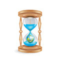 Hourglass With Water Dripping And Planet Earth; Environmental Co Royalty Free Stock Images - 34354939