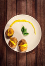 Potatoes Are Served On Dish With Basil Sauce And Fennel Royalty Free Stock Photo - 34355035