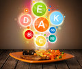 Food Plate With Delicious Meal And Healthy Vitamin Symbols Royalty Free Stock Image - 34361646