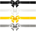 Silk Bows Black And Gold With Ribbons Royalty Free Stock Photography - 34362597