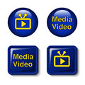 Video Media Icons For Tv Screen - Buttons Royalty Free Stock Image - 34363726