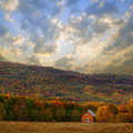 House In Autumn Forest In Mountain Royalty Free Stock Photo - 34371545