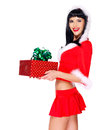 Beautiful Snow Maiden Holds Christmas New Year Gift Box Royalty Free Stock Image - 34371756