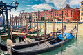 Gondolas On Grand Canal In Venice Royalty Free Stock Image - 34372866