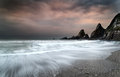 Landscape Seascape Of Jagged And Rugged Rocks On Coastline With Stock Photography - 34376402