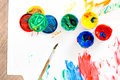 Opened Paints With Paintbrush On Royalty Free Stock Images - 34385039