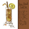 Illustration With Long Island Iced Tea Cocktail Stock Photography - 34386942