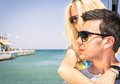 Couple Of Lovers Leaving For A Romantic Boat Trip Stock Photo - 34388660