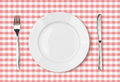 Empty Dinner Plate Top View On Pink Picnic Tablecloth Royalty Free Stock Photography - 34411097