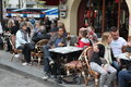View Of Typical Paris Cafe On May 1, 2013 In Pari Royalty Free Stock Photography - 34411827