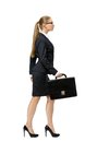 Profile Of Walking Business Woman With Case Royalty Free Stock Image - 34416386