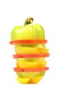 Slices Of Colorful Bell Pepper Isolated Royalty Free Stock Photography - 34419827
