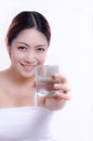 Woman Showing Glass Of Fresh Water Stock Image - 34421741
