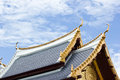 SHAPE THAI ROOF ON SKY BACKGROUND Royalty Free Stock Images - 34444839