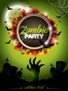 Vector Illustration On A Halloween Zombie Party Themeon Green Background. Royalty Free Stock Image - 34450186