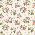 Seamless Pattern With Pink Rose Buds And Leaves. Stock Image - 34452921