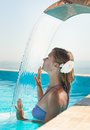 Attractive Young Woman Refresh In Pool Stock Image - 34453551