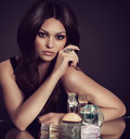 Woman With Perfume Bottle Stock Photos - 34458683