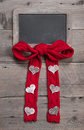 Chalk Board For Message With Red Knitted Bow And Hearts Stock Photos - 34460253