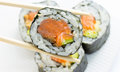 Sushi Roll In Nori With Ginger And Wasabi On White Plate Stock Photo - 34467020