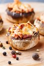 Stuffed Champignons With Ham And Cheese Royalty Free Stock Photo - 34481375
