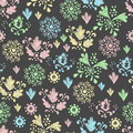 Seamless Floral Pattern Drawn In Chalk Stock Photos - 34488543