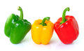 Green Yellow Red Pepper On White Background Stock Image - 34490181