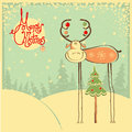 Vintage Christmas Card With Funny Bull And Snow Fr Royalty Free Stock Images - 34492869